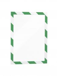 Informationsrahmen DURAFRAME® SECURITY A4, sk, magnet.Vorderseite, grün/weiß, 2 Stück