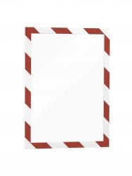 Informationsrahmen DURAFRAME® SECURITY A4, sk, magnet.Vorderseite, rot/weiß, 2 Stück