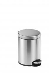 Treteimer, Edelstahl, rund, 290 x 260 mm x Ø 205 mm, 5 l, metallic silber