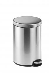 Treteimer, Edelstahl, rund, 400 x 310 mm x Ø 250 mm, 12 l, metallic silber