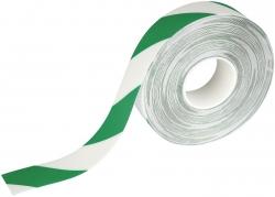Warnmarkierungsband - 50mm x 30m, selbstklebend, grün/weiß