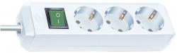 Steckdosenleiste - 3-fach mit Schalter, weiß