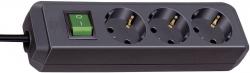 Steckdosenleiste - 3-fach mit Schalter, schwarz