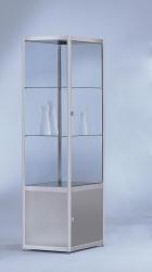 Ausstellungs- und Sammlervitrinen INSIDE-055 Säulenvitrine mit Staufachschrank 470 mm