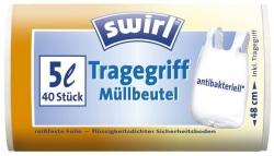 Müll-Beutel antibakteriell mit Tragegriffen - 5 Liter, Folienstärke 6 mym, 40 Stück