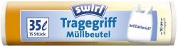 Müll-Beutel antibakteriell mit Tragegriffen - 35 Liter, Folienstärke 8 mym, 15 Stück