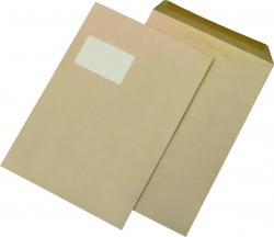 Versandtaschen Recycling - C4 , mit Fenster, gummiert, 90 g/qm, braun, 250 Stück