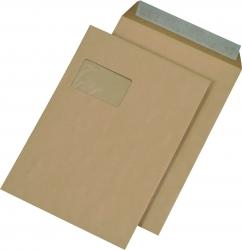 Versandtaschen C4 , mit Fenster, haftklebend, 110 g/qm, braun, 250 Stück