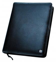 Ringbuch Klassik A5 mit Lasche, schwarz, Leder