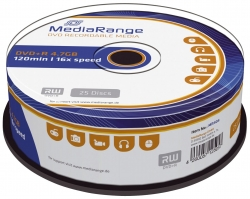 DVD+R - 4.7GB/120Min, 16-fach/Spindel, Packung mit 25 Stück