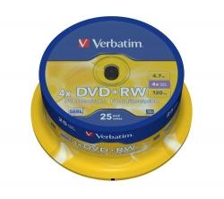 DVD+RW - 4.7GB/120Min, 4-fach/Spindel, Packung mit 25 Stück