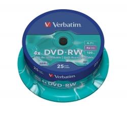 DVD-RW - 4.7GB/120Min, 4-fach/Spindel, Packung mit 25 Stück