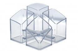 Schreibtisch-Köcher SCALA - 4 Fächern, transparent-klar